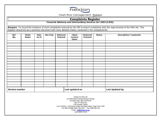 Complaints Register v1.5