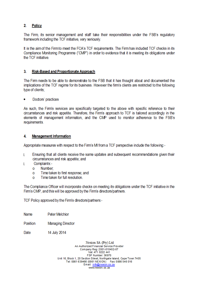 NEXION TCF Policy0003