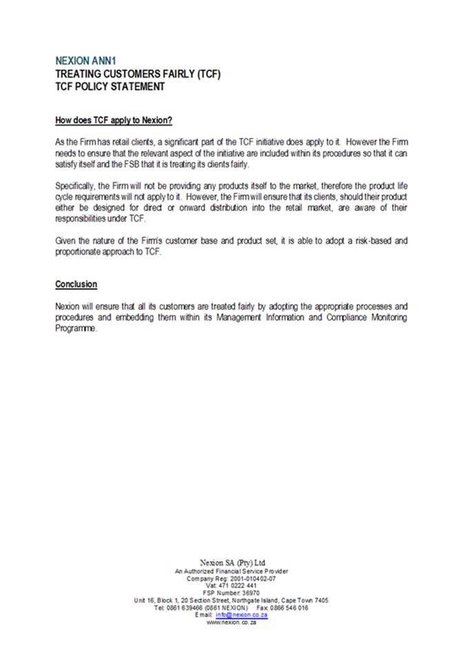 NEXION TCF Policy0004