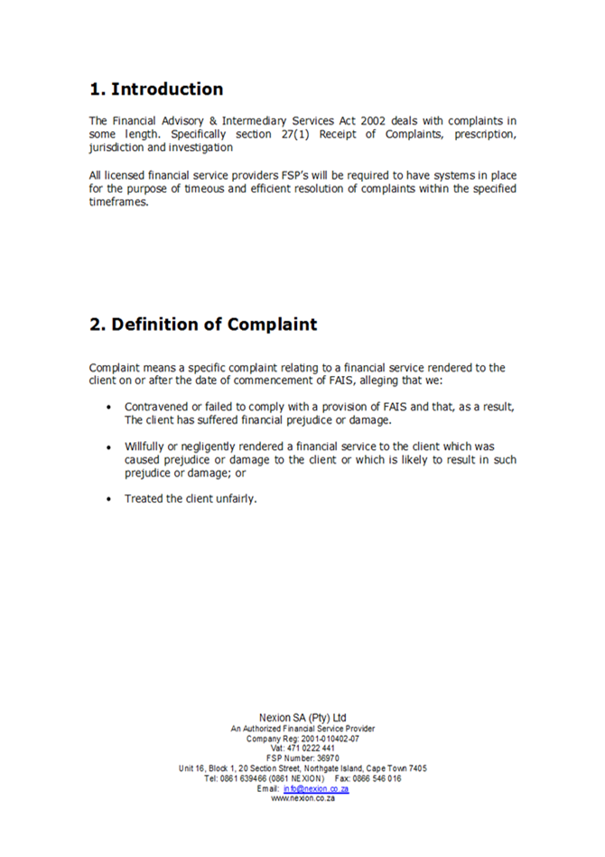 Nexion Complaints Handling Procedures0002