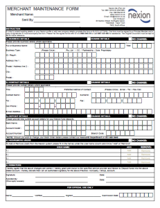 Merchant Maintenance Form