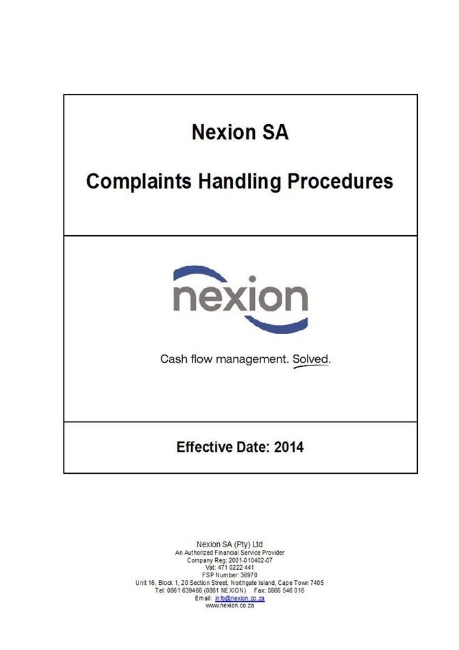 Nexion Complaints Handling Procedures