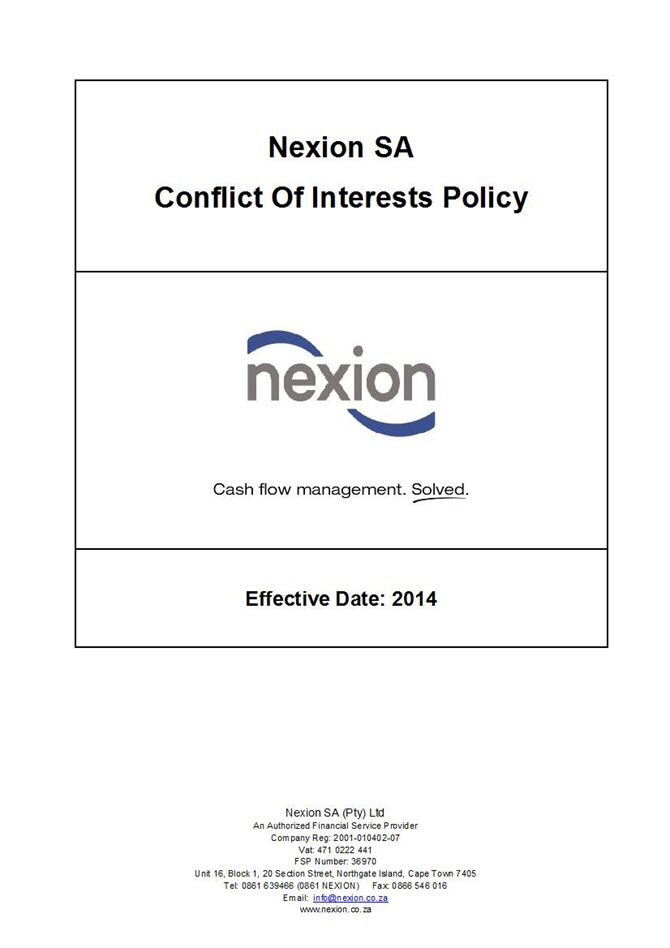 Nexion Conflict of Interests Policy